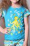 """Пижама детская для девочек с шортами """"осьминог"""" dpl-1128"""
